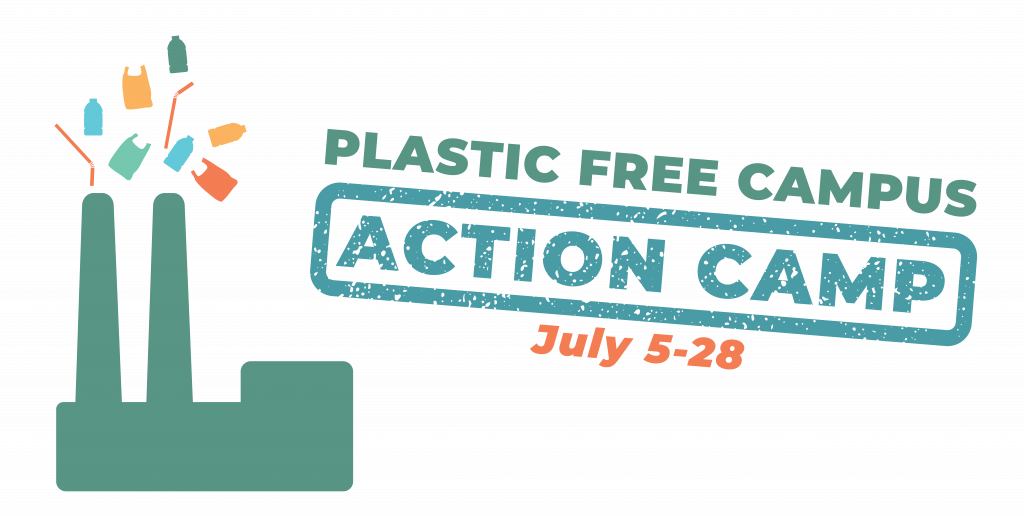 Action Camp Logo. A smokestack is shown with colorful pieces of plastic emerging from it in place of smoke. The dates read July 5-28.